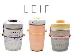jars created by Ben Fleiss for LIEF Ceramic Pots, Ceramic Tableware, Ceramic Clay, Vacuum Cup, Jar Design, Tablewares, Jar Lids, Rubber Bands, Organize