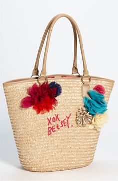 Straw beach tote by Betsey Johnson. So cute!