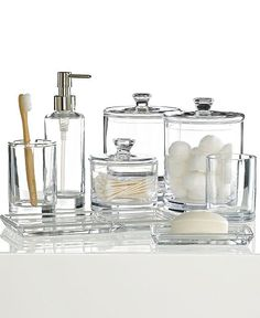 Hotel Collection Glass Bath Accessories Collection - Bathroom Accessories - Bed & Bath - Macy's