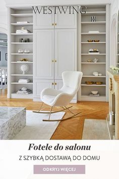 Nasze fotele są szczególnie inspirujące ze względu na ich unikalny design, który zagwarantuje, że przyciągną one każdy wzrok!Dają możliwość kombinacji: Nasi projektanci wnętrz gwarantują wyjątkowe możliwości kombinacji z naszymi ładnymi tapicerowanymi meblami. Meble nadają się również do łączenia między sobą! / #Westwing #WestwingNow Fotel Armchair Salon Living Room Interior Design Meble Fotel Bujany Built In Shelves Living Room, Bookcase, Home And Garden, Contemporary, Interior, House, Instagram, Home Decor, Design