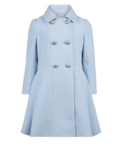 Combat the cold in our Maribell coat for girls. Fashioned in a double-breasted style with pleats for a full look, this pretty baby blue design will have her ...