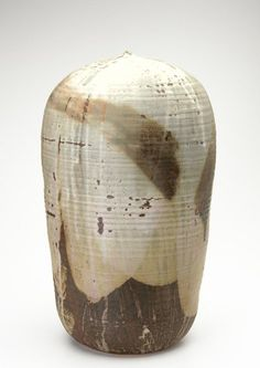 TOSHIKO TAKAEZU Large stoneware Moon Pot covered in lavender, celadon and brown dead-matte glaze, with internal rattle. Marked TT.
