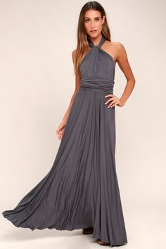426fd71d9f Tricks of the Trade Dark Grey Maxi Dress Beach Bridesmaids