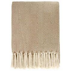 Diamond Throw 100% Cotton Blanket Beige 130cm x 180cm