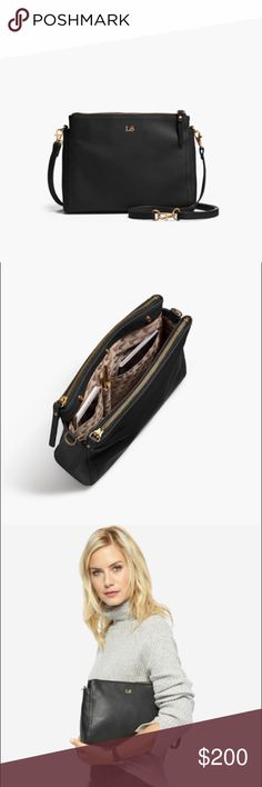 """Lo & Sons """"The Pearl"""" Crossbody Purse Black Napa Leather """"The Pearl"""" crossbody bag. Gold hardware and camel interior. Convertible strap (clutch, purse, crossbody). Lo & Sons Bags Crossbody Bags"""