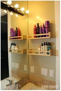 spice racks to keep bottles off the bathroom counter!