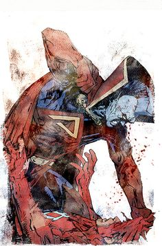 Presented with no comment or description, aBill Sienkiewicz painting that may or may not be from daredevil end of days. whatever it is I believe I win the Internet today. or at least Bill does :-)