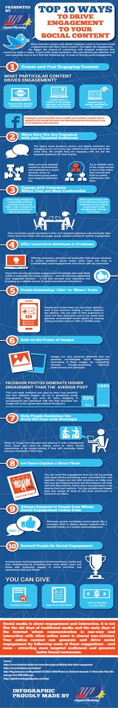 """DIGITAL MARKETING -         """"Top 10 Ways to Drive Engagement to Your Social Content"""" #infographic."""