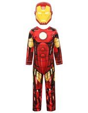 Iron man costume! Little action heroes can transform into a legendary Avenger with our cool Iron Man costume! An all in one suit, mirroring his favourite comic hero's attire with a matching mask and Velcro fastenings for easy dressing.