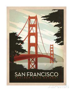 San Francisco: Golden Gate Bridge Art Print at AllPosters.com