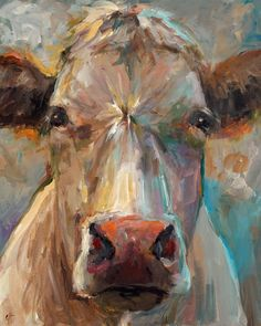 Cow Painting  Freida  Paper or Canvas Giclee by ArtPaperGarden