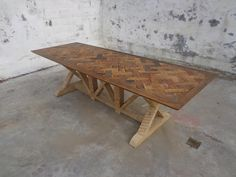 Each one of our hand-crafted tables is built in Litchfield County, Connecticut using antique & reclaimed wood from old historic homes and building from across the Northeast; vintage 1800s.   The parquet tops are designed based on old world patterns.  #Parquet #tables #reclaimed  Reclaimed Parquet Table $3850 - Winsted http://furnishly.com/reclaimed-parquet-table-1800-s.html