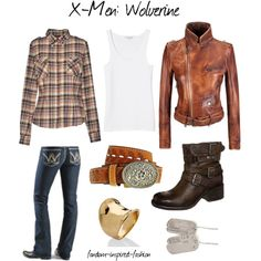 """""""X-Men: Wolverine Inspired Outfit"""" by fandom-inspired-fashion on Polyvore. This is inspired by Wolverine of the X-Men movie-verse played by Hugh Jackman. Ive layered a tank top, flannel shirt and a leather jacket, and matched them with good old wrangler jeans, boots and western style belt buckle. I've accessorized with dog tags (of course), as well as a cigar band ring."""