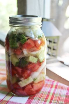Marinated tomatoes, cucumbers, and onions. Yummy!