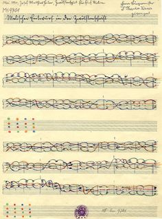A page of musical manuscript by the mystical twelve-tone composer Josef Matthias Hauer, who also planned his compositions using a unique eight-line staff notation. Music Paper, Art Music, Graphic Score, Experimental Music, John Cage, Music Drawings, Music Score, Vinyl Music, Sound Design