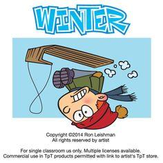 Winter cartoon clipart for teachers