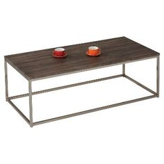 Cecil Coffee Table Walnut & Brushed Nickel - ACME