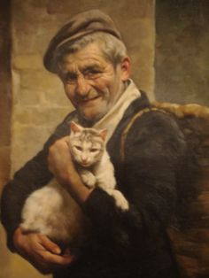 Old Man with a Cat (Gianni Strino). Sketch Painting, Figure Painting, Son Chat, Kinds Of Cats, Cat People, Moon Art, Pretty Cats, Cat Art, Art History