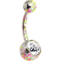 Crystalline Gem Pink Yellow Green Neon Speckles Belly Ring | Body Candy Body Jewelry #bodycandy #piercings #bellyring
