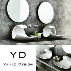 Coolest bathroom sinks I've seen so far Photo credits Yanko Design (c) #coolsink #bathroomsink #bathroomideas #bathroominspiration #interiordesign #bathroomdesign #yankodesign #yankoeauxeaux #yd by foviking Bathroom designs.