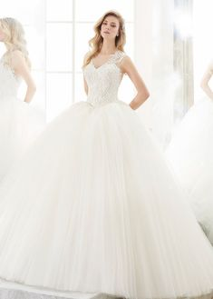 Wedding Dresses Ball Gown, Delicate Tulle Jewel Neckline Ball Gown Wedding Dress With Beaded Lace Appliques MagBridal Bridal Party Dresses, Wedding Dresses Plus Size, Outdoor Wedding Dress, Gown Wedding, Tulle Lace, Beaded Lace, Illusion Neckline Wedding Dress, Beautiful Wedding Gowns, Popular Dresses