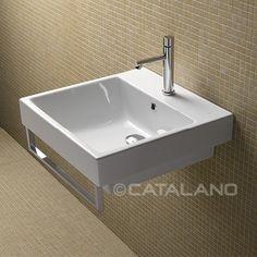 Lavabo appoggio/sospeso Slim 50x50 con foro rubinetto | White ...