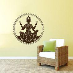 Wall Decal Vinyl Sticker Decals Art Home Decor Design Mural Mehndi Lakshmi Indian Ornament Yoga Pattern Lotus Flower Art Bedroom