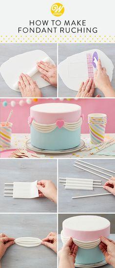 Simple Fondant Cake, Fondant Cake Designs, Fondant Tips, Fondant Decorations, Easy Cake Decorating, Cake Decorating Techniques, Wilton Cakes, Fondant Cakes, Cake Borders