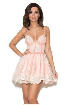 'Ravella' Peach Lace Hand-Sewn Bodice Dress