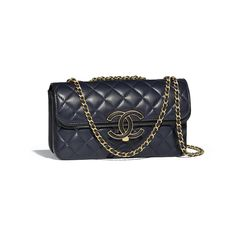 8597b23264d92e Flap Bag Lambskin & Gold-Tone Metal Navy Blue & Black - view 1 -