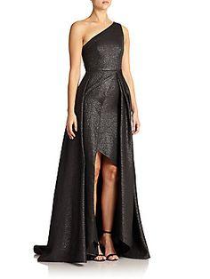 ML Monique Lhuillier Metallic One-Shoulder Gown