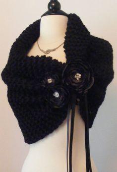 Wedding Shawl / Bride Bolero /Shrug /Black Shawl with Flowers / Custom Hand Knit. $95.00, via Etsy.
