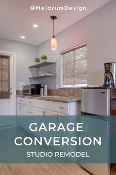 Garage To Living Space, Garage Guest House, Diy Garage, Garage Bedroom, Garage Remodel, Kitchen Remodel, Garage Renovation, Garage Room Conversion, Garage Conversions
