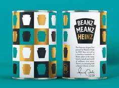 Beanz Meanz Heinz by JKR. Limited edition cans celebrating the brand's 50th Aniversary. #SFields99 #packaging #design #inspiration #limited #edition #food #beans #can