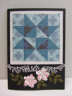 hand crafted Quilt Card by pandarina  ... blues ... star f... luv the embossing folder texture detail ..