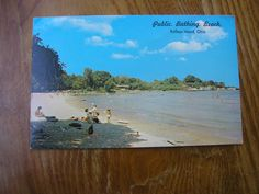 Vintage American US colour post card 1950s 60s Public Bathing Beach Kelleys…