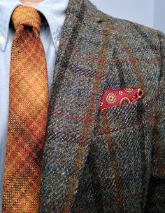 Stafford Harris Tweed jacket, Brooks Brothers OCBD and silk pocket square, Lochcarron wool tie (Scotland).