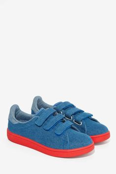 JC Play by Jeffrey Campbell Game On Sneaker - Blue/Red - Shoes | Flats | Jeffrey Campbell