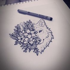 Somedays I am perfectly happy drawing all day. This is for Gabriella. #wolf… #WolfTattooIdeas
