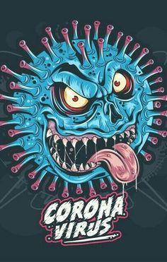 Vector Design, Vector Art, Design Art, Corona Vector, Monster Clipart, Graffiti, Drawing Sketches, Drawings, Monster Illustration