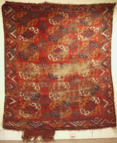 late 18th/early 19c Ersari carpet published in Reuben guls and gols 3 plate 74. Great border, spacing and colour just lacking slightly in the condition department but has no repairs or rot and ...