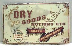 Grays Dry Goods Notions Rustic Retro Old Style Tin Sign | eBay