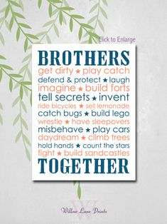 Twin+brothers+Nursery+Decor+Brothers+Subway+by+WillowLanePrints,+$18.00