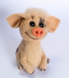 Handmade Funny Pig Needle Felted Sculpture Artist Doll Wool Miniature Toy 5in #handmade