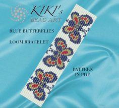 Bead loom pattern Blue butterflies LOOM bracelet by KikisBeadArts