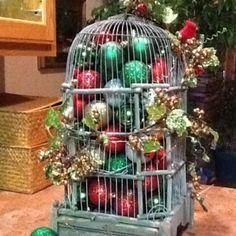 Vintage Birdcage Christmas Decor