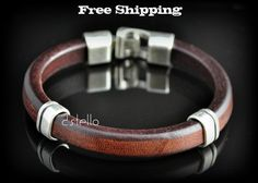 Man Brown Leather Bracelet   Men  Thick Leather by Dstello on Etsy, €32.00 cool