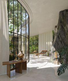 Future House, My House, House Porch, Brutalist Design, Cabinet D Architecture, Home Architecture Design, Jungle House, Verre Design, Glazed Walls