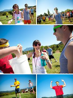 What a great idea: Field Day for the wedding party to get to know each other before the big day!