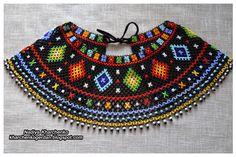 Ґердан і мотанка           Gerdan & motanka: Криза лемківська чорна Beaded Jewelry, Beaded Necklace, Mexican Jewelry, Folk Fashion, Peyote Patterns, Rock Crafts, Folk Costume, Beading Tutorials, Loom Beading